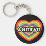 Amo Camryn: corazón del arco iris Llavero Redondo Tipo Pin