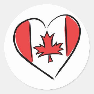 Amo Canadá Etiqueta Redonda