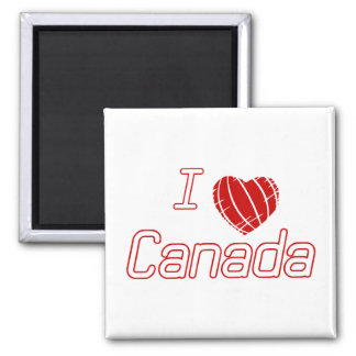 Amo Canadá Imán Cuadrado