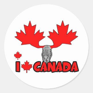 Amo Canadá Pegatina Redonda