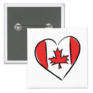 Amo Canadá Pin Cuadrado