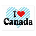 Amo Canadá Tarjetas Postales