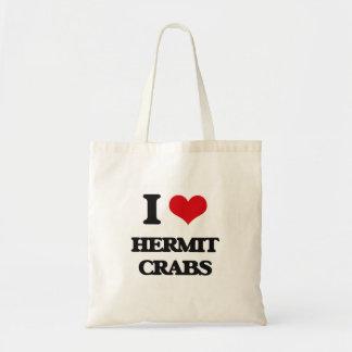 Amo cangrejos de ermitaño bolsas de mano