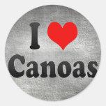 Amo Canoas, el Brasil. Eu Amo O Canoas, el Brasil Etiquetas Redondas
