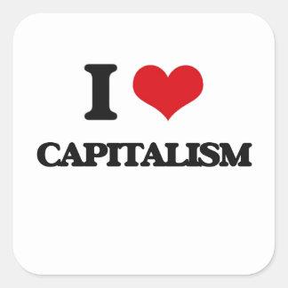 Amo capitalismo pegatina cuadrada