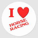 Amo carrera de caballos etiqueta redonda