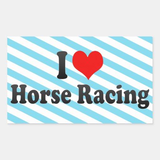 Amo carrera de caballos rectangular pegatinas