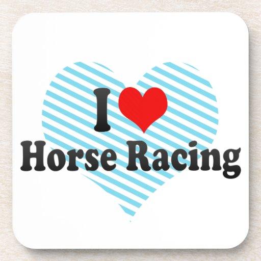 Amo carrera de caballos posavasos de bebida