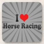 Amo carrera de caballos posavasos de bebidas