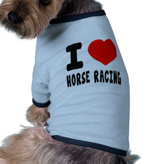 Amo carrera de caballos camiseta de perrito