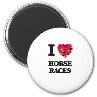 Amo carreras de caballos imán redondo 5 cm