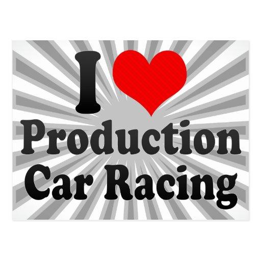 Amo carreras de coches de la producción tarjetas postales