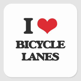 Amo carriles de bicicleta colcomanias cuadradas