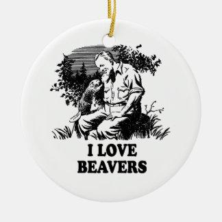 Amo castores adorno navideño redondo de cerámica