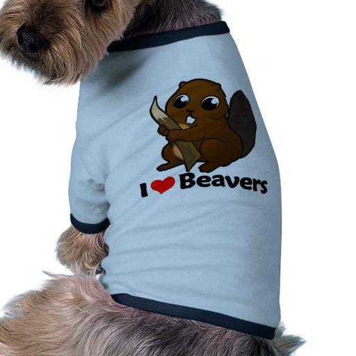 Amo castores camisa de mascota