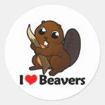 Amo castores pegatina redonda