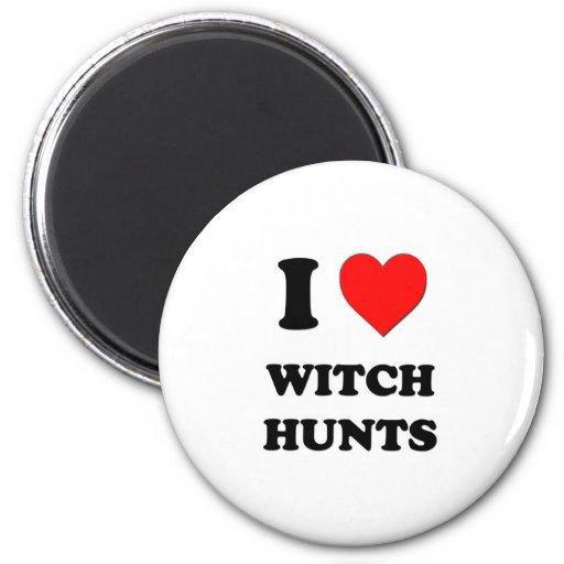 Amo cazas de la bruja imán redondo 5 cm