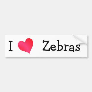 Amo cebras etiqueta de parachoque