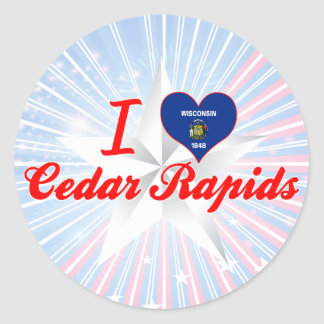 Amo Cedar Rapids, Wisconsin Pegatinas Redondas