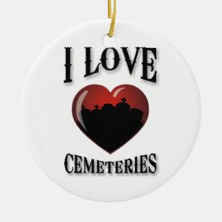 Amo cementerios adorno navideño redondo de cerámica