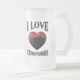 Amo cementerios taza de cristal