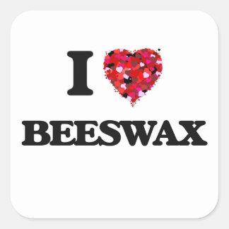 Amo cera de abejas pegatina cuadrada