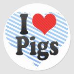 Amo cerdos etiquetas redondas