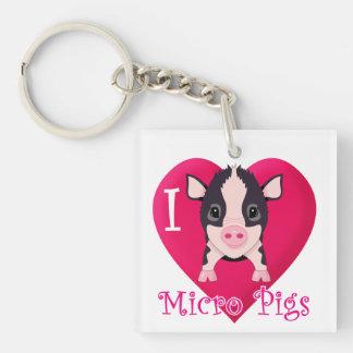 Amo cerdos micro llavero cuadrado acrílico a una cara