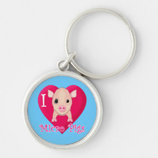 Amo cerdos micro llavero redondo plateado