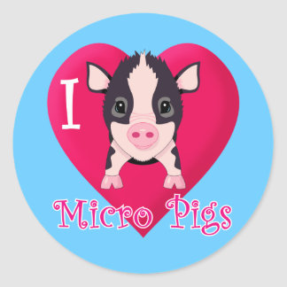 Amo cerdos micro etiquetas redondas