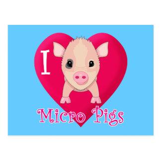 Amo cerdos micro tarjeta postal