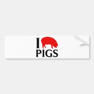 Amo cerdos pegatina para auto