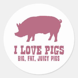 Amo cerdos pegatina redonda