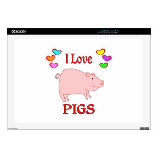 Amo cerdos portátil calcomanía