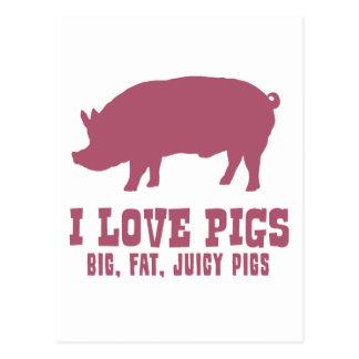 Amo cerdos tarjetas postales