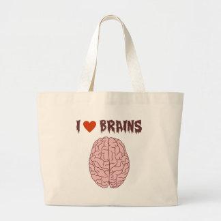 Amo cerebros bolsa tela grande