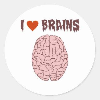 Amo cerebros etiqueta redonda