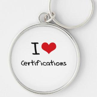 Amo certificaciones llaveros personalizados