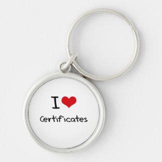 Amo certificados llavero personalizado