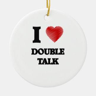 Amo charla doble adorno navideño redondo de cerámica