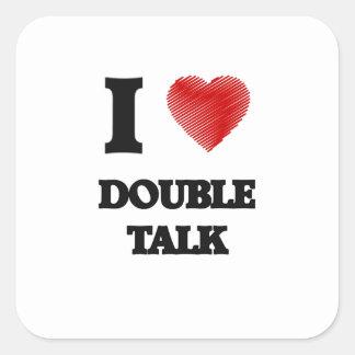 Amo charla doble pegatina cuadrada