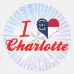 Amo Charlotte, Carolina del Norte Pegatinas Redondas
