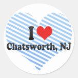 Amo Chatsworth, NJ Pegatinas Redondas