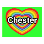 Amo Chester: corazón del arco iris Postal