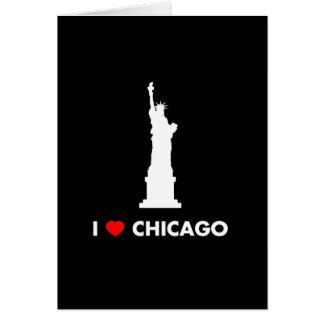 Amo Chicago - estatua de la libertad Tarjeton