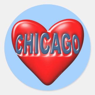 Amo Chicago Pegatina Redonda