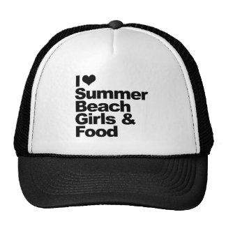 Amo chicas y la comida de la playa del verano gorras de camionero