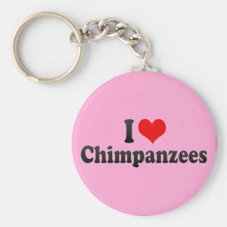 Amo chimpancés llavero redondo tipo pin