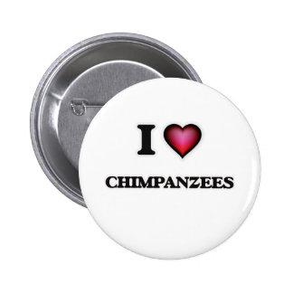 Amo chimpancés pin redondo de 2 pulgadas