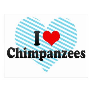 Amo chimpancés tarjeta postal